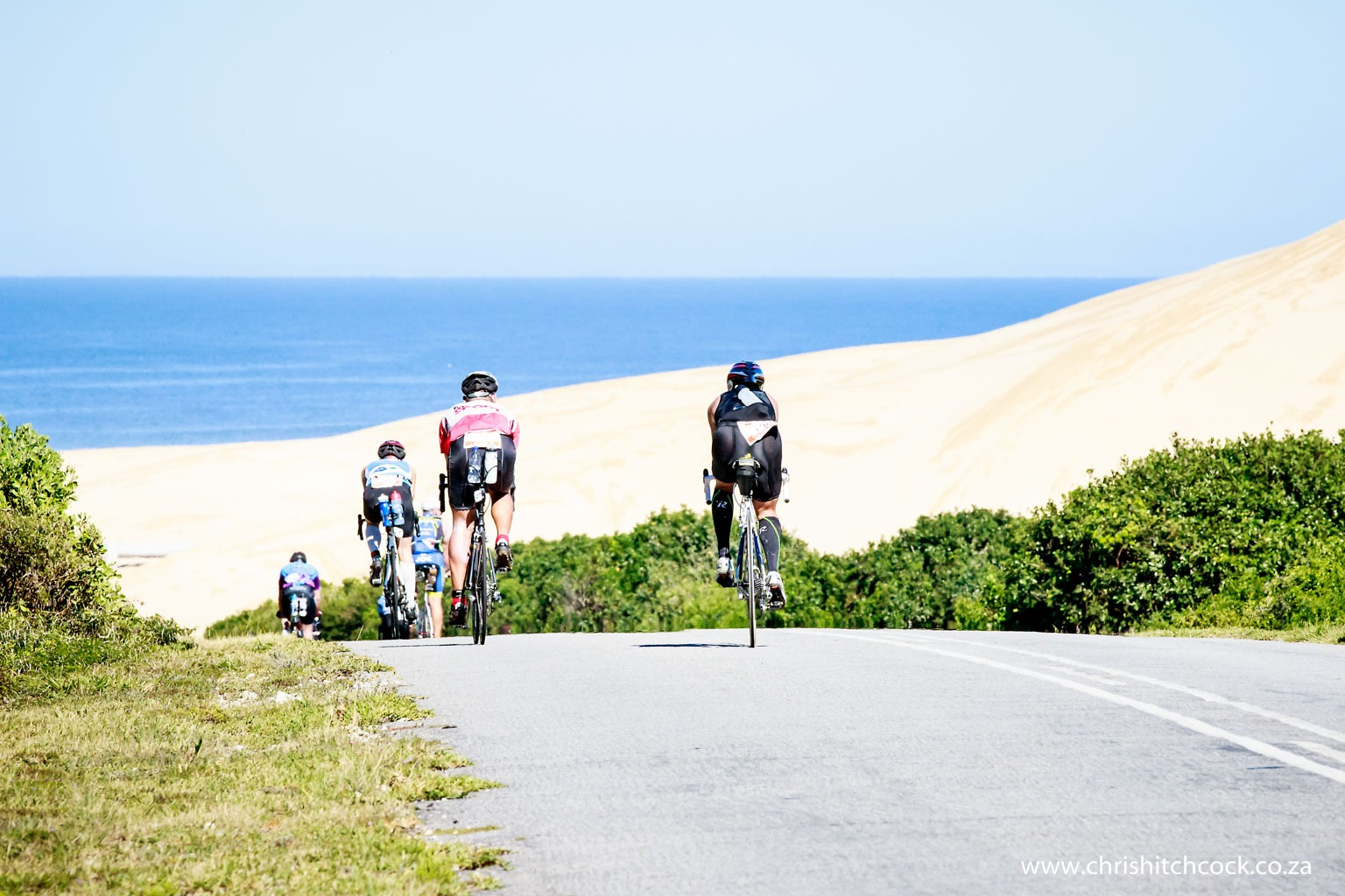 At the farthest point of the 2 loop bike circuit is the Maitland river mouth, and the Maitland 'sand mountain'. At this point riders turn left up a steep hill and hit the prevailing Easterly wind. Beyond this turnaround are hundreds of miles of stunning beaches along South Africa's Garden Route.